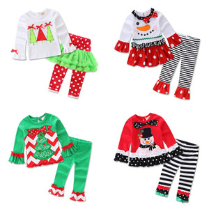 Wholesale Baby Christmas Outfits Girls Cartoon Snow Man Ruffle Striped Costume Kids Designer Clothes Girls Dot Bow Boot Cut Pants Flare Pants Sets