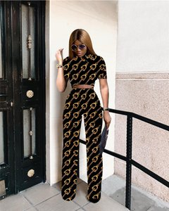 Wholesale Print FF Womens Designer 2 Piece Sets Female Wide-Waist Two Piece Pants Casual Apparel