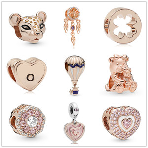 new free shipping MOQ 20pcs rose gold Sparkling Lion Princess Charm Dreamcatcher DORA BEAR diy bead Fit origianl Pandora Charm Bracelet D048