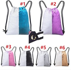 Wholesale 45x35cm sets Street Cool Sequins Drawstring Bag Shiny Waterproof Oxford Cloth Flashing Kids Mini Bag White Colorful Multifunction Bag B201