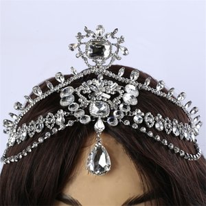 Wholesale Fashion Sparkly Crystal Bridal Head Chain Indian Hair Jewelry Tikka Women Wedding Tiara Bride Forehead Decoration Accessories J190701