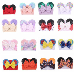 Cartoon sequined Mouse Ears Headband Big Hair Bow Headbands Headwrap Fabric Elastic Bowknot DIY Hair with Bows baby wide halloween hairbands