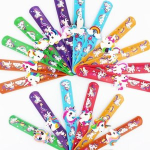 120pcs Cartoon Unicorn Styles Band Ring Flexible PVC Slap Snap Wrap Bracelet Wristband Jewelry For Party Kids Cute Gift Toys HWJ111