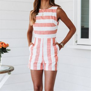 Wholesale Women Jumpsuit Sleeveless Strap Striped Summer Womens Jumpsuit Bodycon Party Backless Female Jumpsuits Short Mini Playsuit