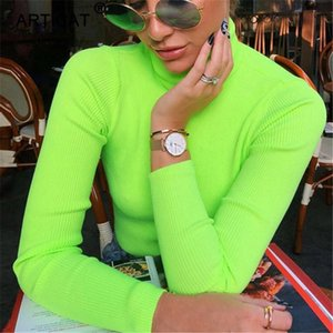 YIBO Long Sleeve Turtleneck Knitted Women Top 2018 Autumn Winter Fashion Slim T Shirt Tees Solid Green Casual Women T-shirts party