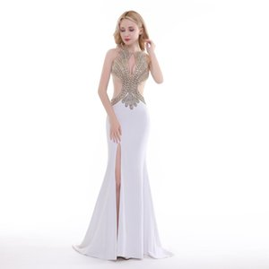 Wholesale Finove New Design Long Evening Dress Sexy See Through Cut Out Shining Gold Beading Mermaid Split Side Woman Party Gowns