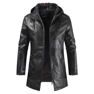 Wholesale Men Hooded Solid Color Long Section Motorcycle Leather Large Size Casual Jacket PU Leather Jacket Men Black Color Size M-4XL