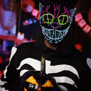 Wholesale Halloween Decoration LED MASK Glowing Cat Mask Costume Anonymous For Glowing Dance for Carnival Party Masks