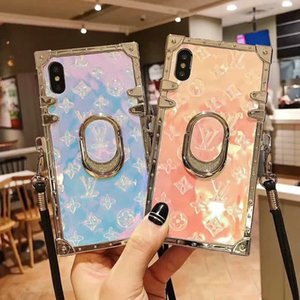 Wholesale 2019 new brand design old flower rhinestone bracket mobile phone case for iphone Xs max Xr X plus plus plus with lanyard