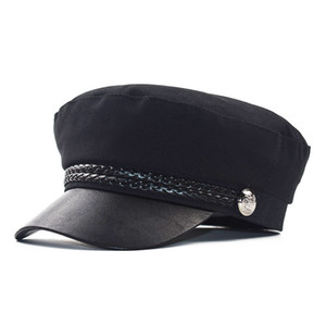 Wholesale captain hats resale online - Fashion Unisex PU Leather Military Hat Autumn Sailor Hats for Women Men Black Flat Top Female Travel Cadet Hat Captain Cap Gift