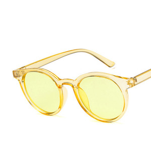 Wholesale Red Blue Round Sunglasses Women Brand Designer Fashion Pink Yellow Sun Glasses Vintage Retro Shades