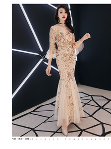 Wholesale fly sleeve sparkle Luxury Evening Dress Lace Sequin Womens Formal Dress Long Muslim Evening Dresses 2019 Party Long Engagement Dresses