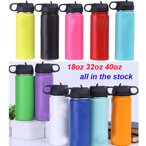 Wholesale 18oz oz oz portable Water Bottle colors Vacuum Insulated Stainless Steel sport Bottle Wide Mouth Big Capacity Bottle with Straws lids