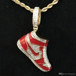 New Red Running Shoes Pendant & Necklace Gold Color Cubic Zircon Men's Hip hop Jewelry For Gift