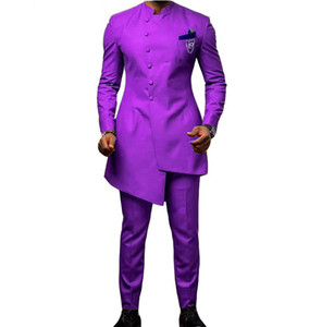 ingrosso abito viola scuro per il matrimonio-Custom Made Dark Purple Stand Collar Mens Suits Serge Wedding Groom Suits Terno Masculino Prom Suits Slim Fit Due pezzi Giacca Pant