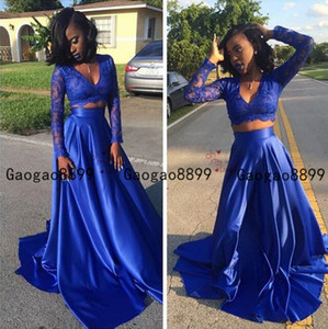 Wholesale 2019 african royal blue two pieces prom dresses sexy v neck with long sleeves sweep train Formal Evening Party Gowns Vestidos Customized