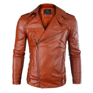 Wholetide Nice Mens Leather Jacket Pure Color Zipper Fur Leather Mens Winter Fashion City Self Cultivation Type Mens Designer Jackets on Sale