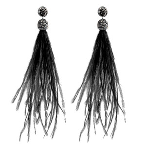 серьги перья болтаться оптовых-YJSFG HOUSE Bohemian Ostrich Feather Feather Earrings jewelry Fashion Tassel Dangle Drop Earring for Women Christmas gift