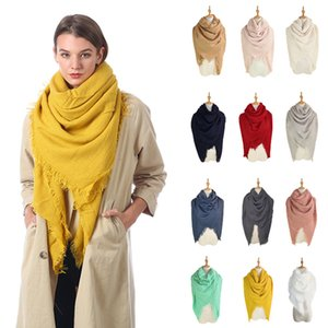 Wholesale 13styles Solid Scarves Blankets Tassel Square Wraps Winter Air Condition Shawl Fringed Muffler Neck Scarf Ring Plain Neckerch cm FFA2875