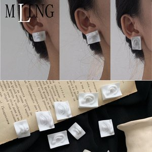 MLING Newest Acrylic Portrait Abstract Earrings Vintage Face Mask Earrings Eye Mouth Rectangle Stud For Women