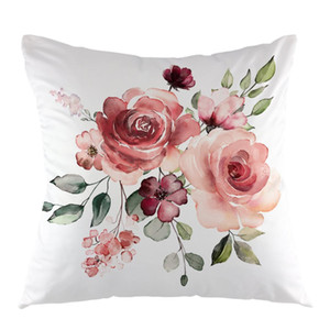 Wholesale Flower Throw Pillow Cover Flower Floral Leaf Buds Pillow Case Square Decorative Cushion Cover for Sofa Couch Pillowcase White