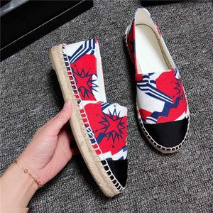 Wholesale Spring Autumn Logo Sylvie Canvas Espadrille Womens Flat Casual Loafers Slip Ons Round Toe Lace Less Shoes Espadrilles C1H7