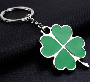 New Car Key Chains Accessories Leaf Keychain Fashion four Leaf Clover Lucky Key Chain Jewelry Keyring Wedding Party Favor