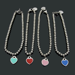 Wholesale Heart Pendant Bracelet for Women Drip Oil Plated Platinum Bracelet Jewelry Suitable for Valentine s Day gift bracelets