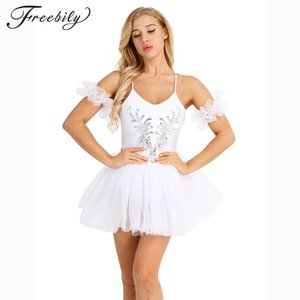 Wholesale White Women Adult Swan Lake Costumes Ballet Dress Spaghetti Strap Sleeveless Sequined and Beads Flower Leotard Tutu Dance Dress