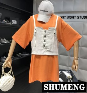 Wholesale 2019 Spring and Summer New Loose Medium Long Tshirt Casual Short sleeved Simple T shirt Cowboy Sling Vest Two piece Set Tops