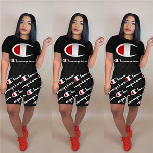 Wholesale Champions Letter Short Tracksuit Fashion Champ Women Summer Clothing suit Printed T shirt Shorts Sets Lady Casual Jogger Outfits A3197
