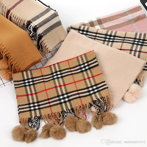 Wholesale Children plaid Scarves fashion girls fake rabbit fur pompons scarf brand kids princess shawl scarves winter girls warm scarves A01228