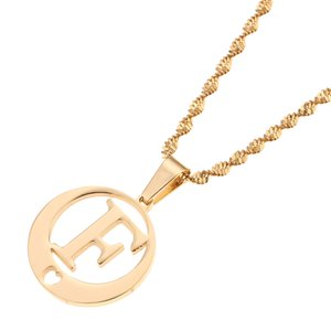 Wholesale Stainless Steel Round Monogram Trendy Jewelry Alphabet Initial Letters Pendant Necklace From A Z F