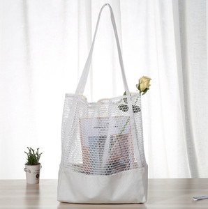 Wholesale Shopping Bag Canvas Mesh Beach Bag Summer Women Tote Single Shoulder Bags Travel Toiletry Organizer Lady Handbag Black White YW3913