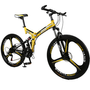 26 inches 21 Speed Folding Bicycle Male   Female   Student Mountain Bike Double Disc Brake Full Shockingproof Frame Brakes