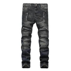 Wholesale Male's Hole Motor Vehicle Fashion Straight Jeans Vintage Style Slim Lightweight Patchwork Pants Plus Size Trousers Nice