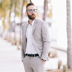 Wholesale grooms tuxedo beach resale online - Tailor Made Men Suits Spring Summer Custom Wedding Suits For Man Groom Prom Beach Tuxedos Blazer Jacket Men Pieces Terno