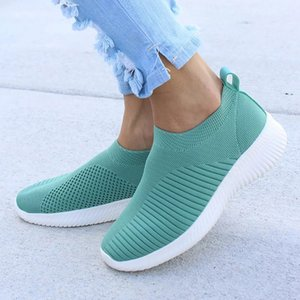 Damyuan 2019 Fashion Shoes Women Plug Size Comfortables Breathable Non-leather Casual Lightweight Flat Ladies Slip On Sock Shoes