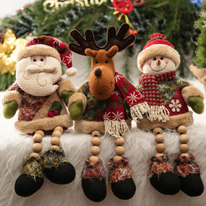 Wholesale 2019 Christmas Tree Window Plush Doll Santa Clause Elk Snowman Home Party Xmas Decoration DIY Ornament Gift New Year