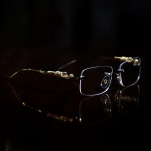 fashion optical frames Leopard Gold buffalo horn glasses women eyeglasses men sunglasses designer glasses clear lense Frameless With box