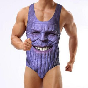 2019 new hot Avengers Print One-Piece Swimsuit Thanos Bikini Beachwear Thong Bathing Suits S-3XL for man