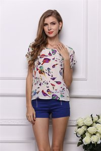 Wholesale 2019 DHL Women s Summer Casual loose and comfortable Bird Heart Geometric Print Short Sleeve Chiffon Top T Shirt Blouses