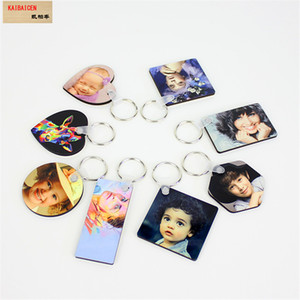 mdf keychains for sublimation Blank wooden heart round Square Ellipse key ring for thermal transfer printing diy material