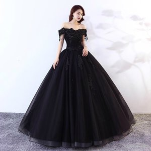 Wholesale Black Ball Gown Gothic Prom Dresses Off the Shoulder Beaded Lace Tulle Floor Length Corset Back Princess Colorful Non White Bridal Gown