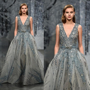 Ziad Nakad 2020 Sexy Evening Dresses Luxury Beaded Sequins Crystal Prom Wear Deep V-Neck Velvet Sleeveless Formal Party Gowns on Sale