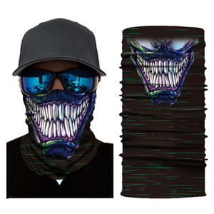 Wholesale Magic Turban Bandanas Skull Face Masks Headscarf Skeleton Outdoor Sports Ghost Neck Scarves Headband Cycling Riding Motorcycle Masks M683F