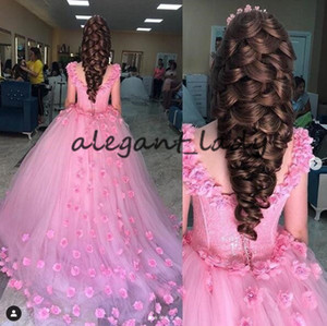 Pink Princess Caftan Kaftan Evening Formal Dresses 2019 Scoop 3D Floral Hand Made Flower corset lace-up Special Occasion Prom Gown on Sale