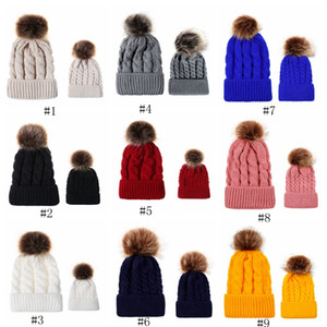 Wholesale Autumn and winter ball twist knit hat Warm female parent child imitation braid hair ball wool cap EEA559