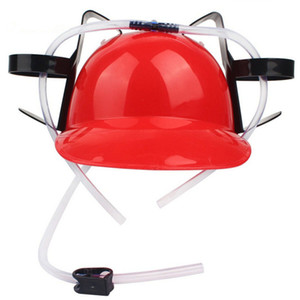 Wholesale New Beverage Helmet Handfree Cola Coke Sodar Miner Beer Hat Lazy Drinking Helmet Cool Funny Straws Prop Holder