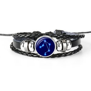 Wholesale New Trendy Woven Charm Multilayer Leather Rope Beaded Women Men Bracelet Horoscope Zodiac Libra Time Gem Glass Cabochon Jewelry